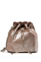 Steve Madden Bucket Faux Fur Lined Shoulder Bag Brown