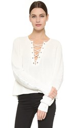 Tess Giberson Lace Up Sweater White
