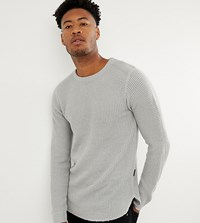 D Struct Tall Long Line Curved Hem Muscle Fit Stretch Knitted Top Grey