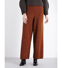 Pringle Of Scotland Wide Leg Merino Wool And Cashmere Blend Trousers Rust