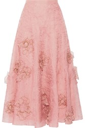 Roksanda Ilincic Moraya Embroidered Silk Organza Midi Skirt Blush