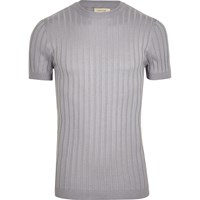 River Island Mensgrey Chunky Ribbed Muscle Fit T Shirt