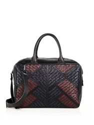 Christopher Kon Geo Patch Smooth And Woven Leather Shoulder Bag Black Multi