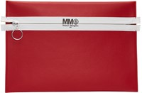 Maison Martin Margiela Mm6 Red Faux Leather Zip Pouch