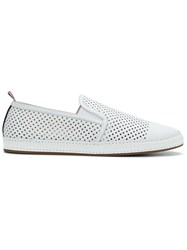 Thom Browne Espadrille With Leather Trim And Rubber Sole In Perforated White