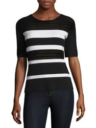 Bailey 44 Staggered Start Stripe Sweater Black White