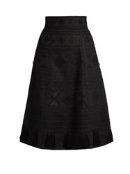 Vita Kin Croatia Embroidered Linen Skirt Black