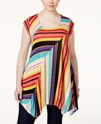 American Rag Plus Size Striped Handkerchief Hem Tunic Top Only At Macy's Ochre Comb