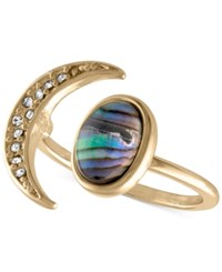 Rachel Roy Gold Tone Pave Moon And Abalone Stone Ring