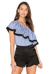 Milly One Shoulder Top Blue