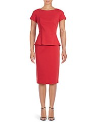Lafayette 148 New York Short Sleeve Peplum Dress Tango Red