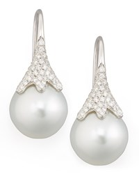 White South Sea Pearl And Diamond Drop Earrings 0.56Ct Eli Jewels Blue