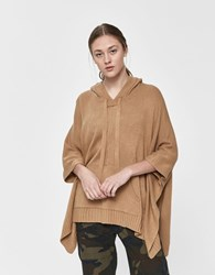 Farrow Emmie Hooded Poncho Sweater In Camel Size Small