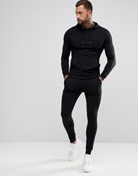 Asos Design Tracksuit Muscle Hoodie Extreme Super Skinny Joggers In Black