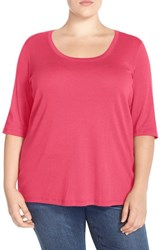 Plus Size Women's Sejour Elbow Sleeve Scoop Neck Tee Red Chateaux
