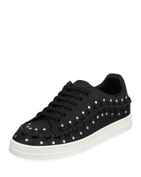 Alaia Whipstitched Studded Platform Sneakers Black