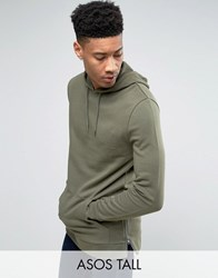 Asos Tall Longline Hoodie With Side Zips In Khaki Toad Green
