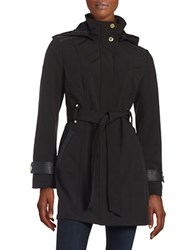 Via Spiga Funnelneck Hooded Trenchcoat Black