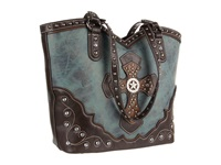Mandf Western Texas Star W Cross Boot Top Tote Blue Tote Handbags