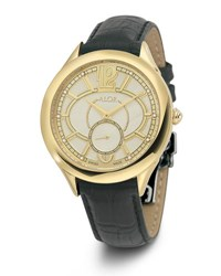 Alor 38Mm Valenti Watch W Diamonds And Leather Strap Golden Black