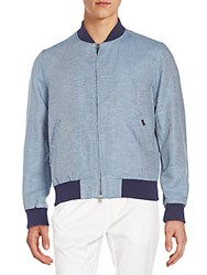 Gant Cotton And Linen Chambray Bomber Jacket Blue