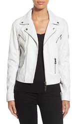 Women's Rudsak Asymmetrical Zip Leather Moto Jacket White