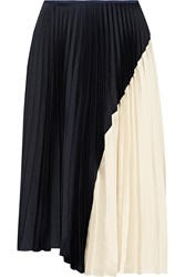 Theory Zeyn Pleated Satin Midi Skirt Blue