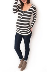 Nom Maternity Women's Ruched Long Sleeve Top Sass Charcoal Wide Stripe