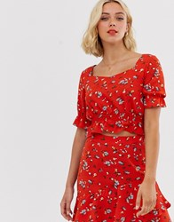 Pieces Floral Cropped Smock Top Red