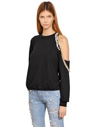 Forte Couture Cut Out Embellished Cotton Sweatshirt