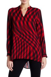 Vince Camuto Swept Check Blouse Pink