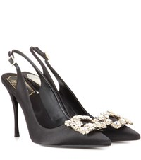 Roger Vivier Flower Satin Sling Back Pumps Black