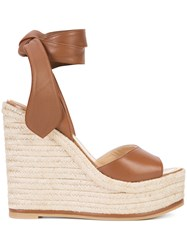 Paul Andrew Wedge Sandals Brown