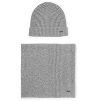 Hugo Boss Ribbed Cashmere Beanie And Scarf Set Gray