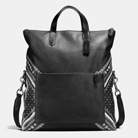 Coach Manhattan Foldover Tote In Bandana Patchwork Leather Black Antique Nickel Black