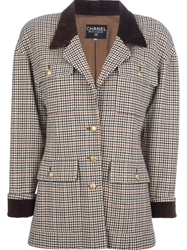Chanel Vintage Pied De Poule Jacket Brown