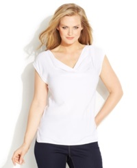 Michael Michael Kors Plus Size Short Sleeve Cowl Neck Top White