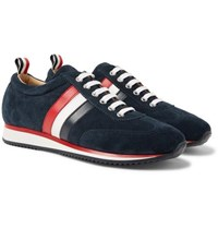 Thom Browne Striped Suede And Leather Sneakers Midnight Blue