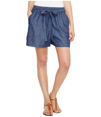 Lucky Brand Tie Front Chambray Shorts In Blue Chambray Blue Chambray