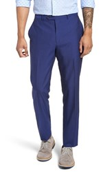 Strong Suit Dagger Flat Front Solid Wool Trousers High Blue