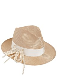 Federica Moretti Fedora Hat W Pin And Imitation Pearls Natural