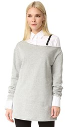 Edit One Off Shoulder Sweatshirt Grey Marle