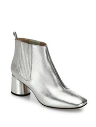 Marc Jacobs Rocket Metallic Leather Block Heel Chelsea Booties Silver