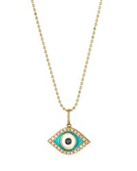 Sydney Evan 14K Diamond Evil Eye Pendant Necklace Yellow Gold