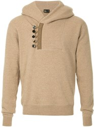 Kolor Button Embellished Hoodie Nude And Neutrals