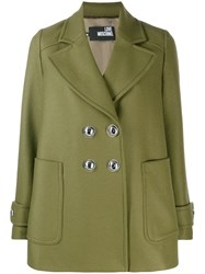 Love Moschino Double Breasted Coat Green
