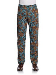 Craft Mrkt Printed Cotton Straight Leg Pants Aqua