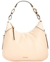 Calvin Klein Classic Pebbled Leather Hobo Wheat