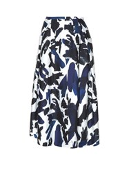 Jil Sander Biglia Graphic Print Midi Skirt Blue White