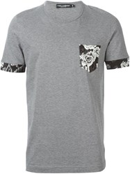 Dolce And Gabbana Floral Patch Chest Pocket T Shirt Grey